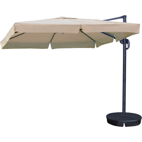 Santorini II 10-ft Square Cantilever Umbrella with Valance in Terra Cotta Sunbrella Acrylic with Base