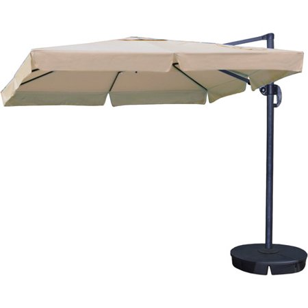 Image of Santorini II 10-ft Square Cantilever Umbrella with Valance in Terra Cotta Sunbrella Acrylic with Base