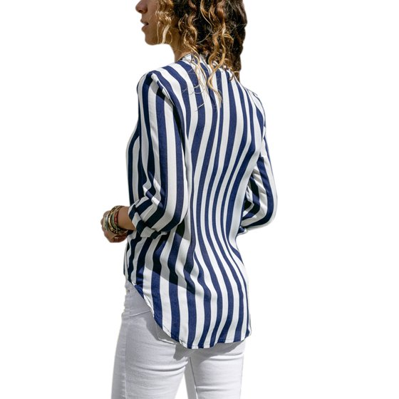 9c3c315f7045cd Sexy Dance - Women Striped Long Sleeve Blouse Loose Casual Tops ...