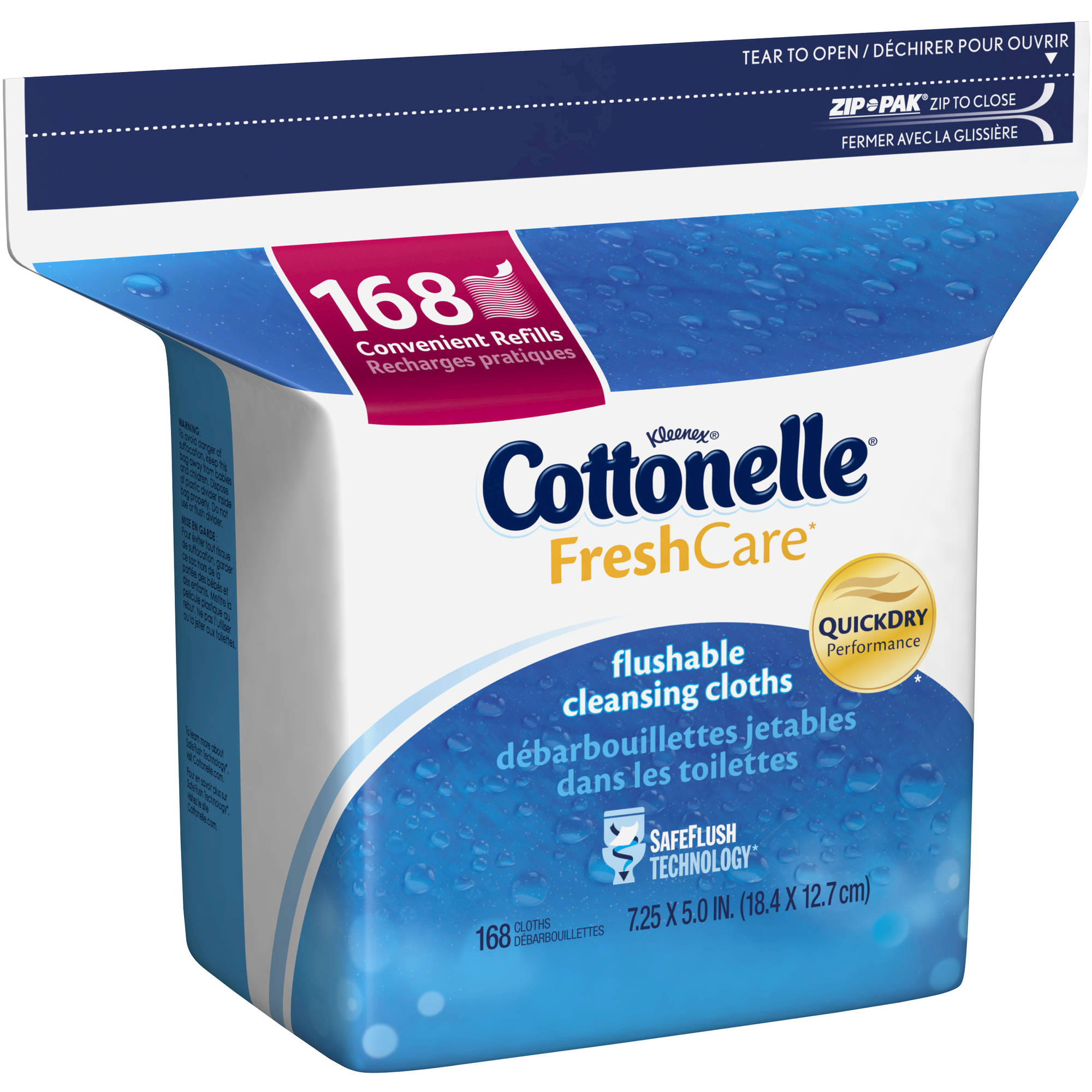 Cottonelle Fresh Care, Flushable Cleansing Cloths Refills, 168 Sheets