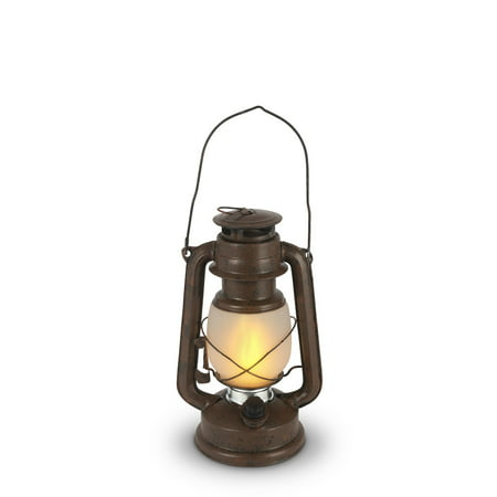 """Set of 2 Brown and Silver Colored Antique Style LED Lantern with Frosted Glass Globe Body 9.5"""""""