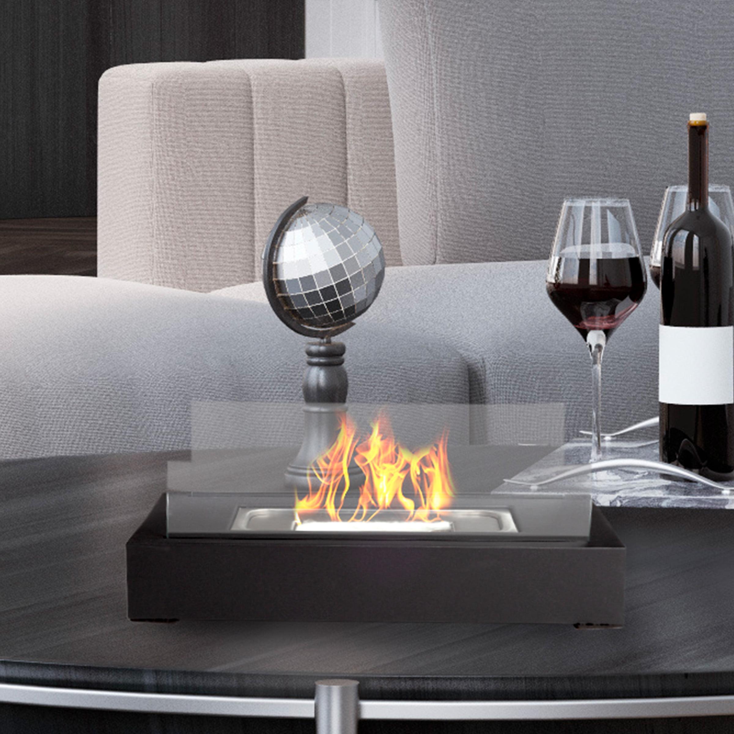 Bio Ethanol Ventless Fireplace Tabletop Rectangular Real Flame