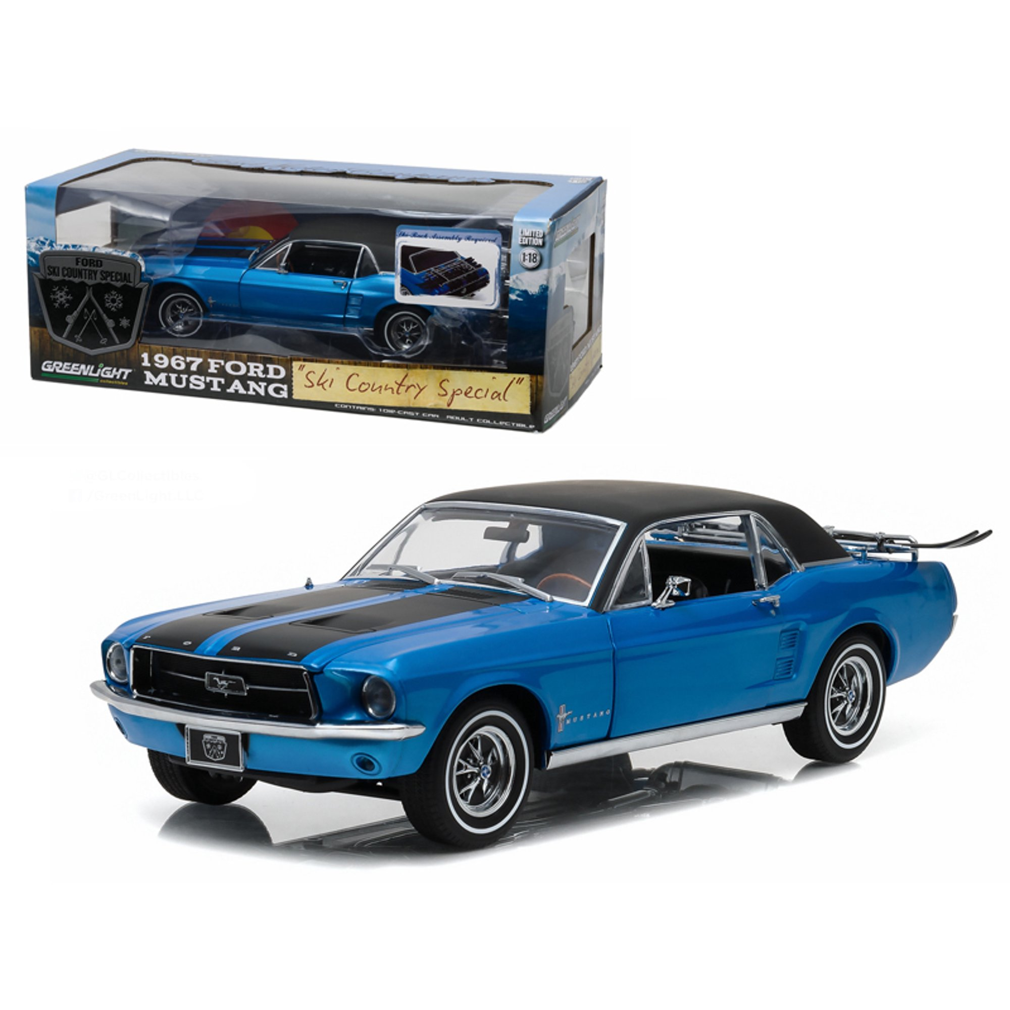 1967 ford mustang coupe ski country special vail blue 1 18