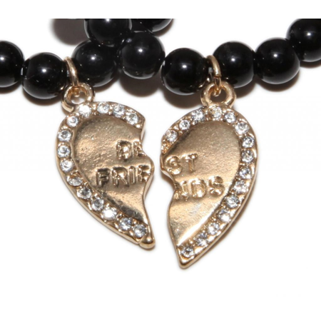 Lux Accessories Gold Best Friends BFF Black Beaded Stretch Heart Charm Bracelet Set (2