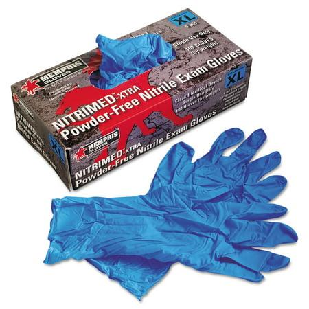 MCR Safety Nitri-Med Disposable Nitrile Gloves, Blue, X-Large, 100/Box -MPG6012XL