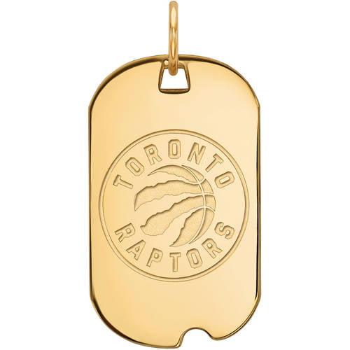 LogoArt NBA Toronto Raptors 14kt Gold-Plated Sterling Silver Small Dog Tag