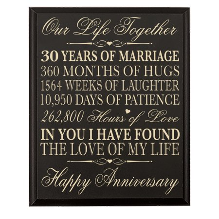 30th Anniversary Gifts (30th Wedding Anniversary Wall Plaque - Our Life Together - 12x15 (Black) )