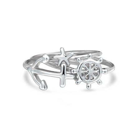 3 Set Nautical Boat Anchor Wheel Starfish 925 Sterling Silver Midi Knuckle Stackable Ring 1MM Band For Women For Teen