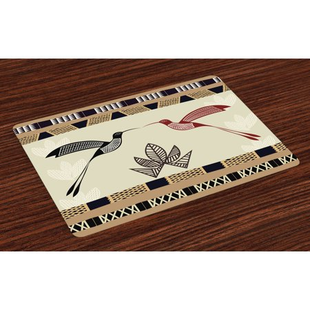 Hummingbird Placemats Set of 4 Image of Bamboo and Hummingbirds Geometric Pattern Traditional Tribal Art, Washable Fabric Place Mats for Dining Room Kitchen Table Decor,Brown Black, by Ambesonne