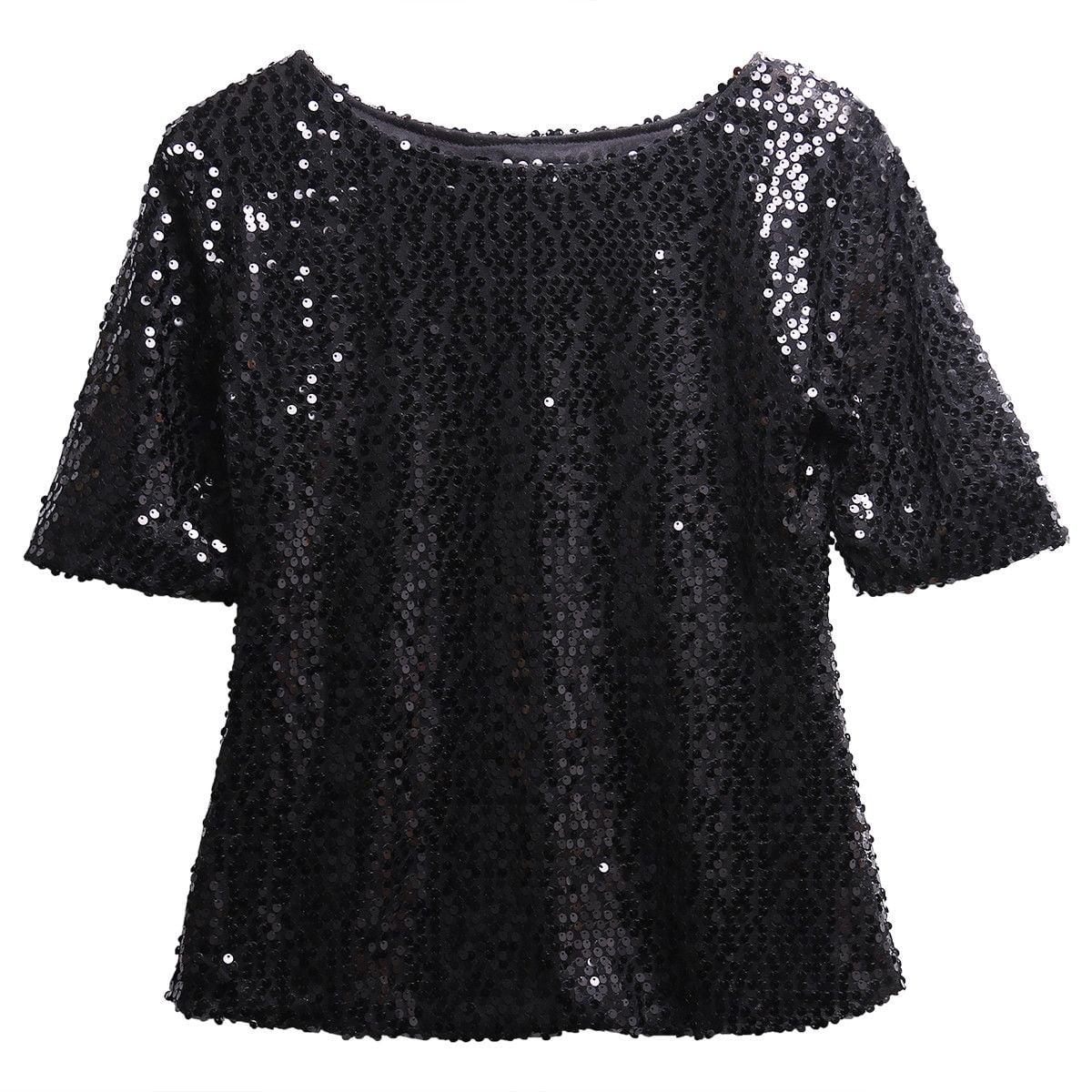 467f5a29 Hirigin - Ladies Sloping Shoulder Glistening Sequin Slim Shirt Tops Blouses  Women T Shirts Embellished Sparkle Tunic Blouse - Walmart.com