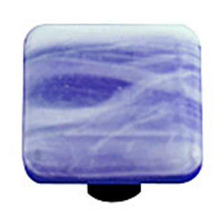 Painted Swirl Cabinet (Hot Knobs HK2060-KA White Swirl Cobalt Blue Square Glass Cabinet Knob - Aluminum Post )
