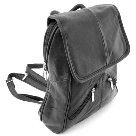Black Lambskin Leather Backpack Purse Shoulder Bag