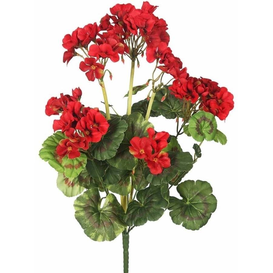 "Vickerman 20"" Artificial Red Geranium Bush Featuring 9 Blossoms"