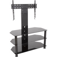 """AVF Stand with TV Mount for TVs up to 65"""", Black Glass, Black Legs"""