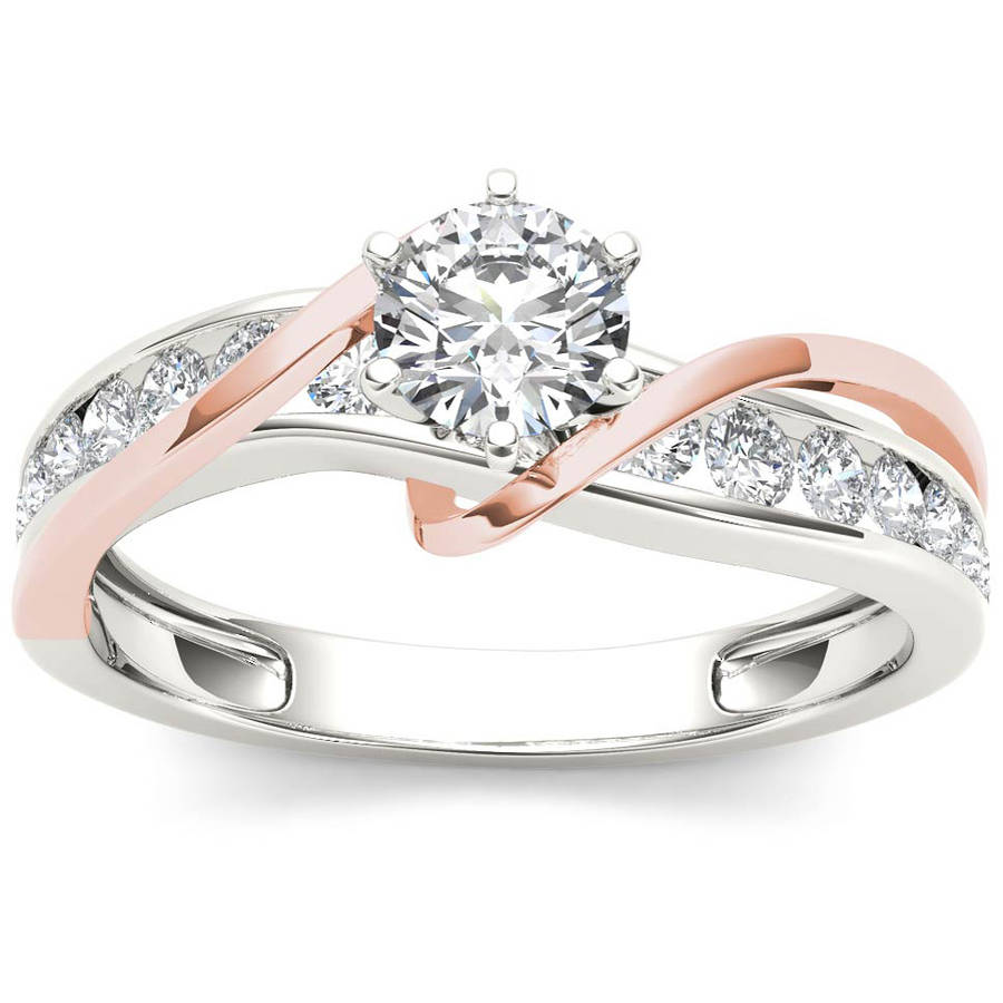 Imperial 3 4 Carat T.W. Diamond Pink Two-Tone Classic 14kt White Gold Engagement Ring by Imperial Jewels