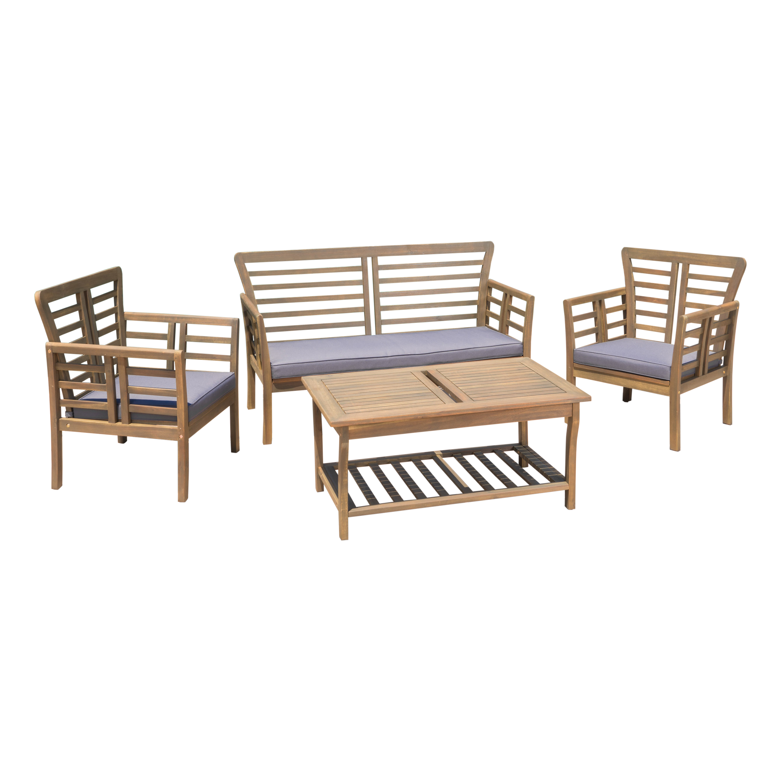 Louis 4 Piece Outdoor Acacia Wood Chat Set with Water Resistant Cushions, Dark Grey