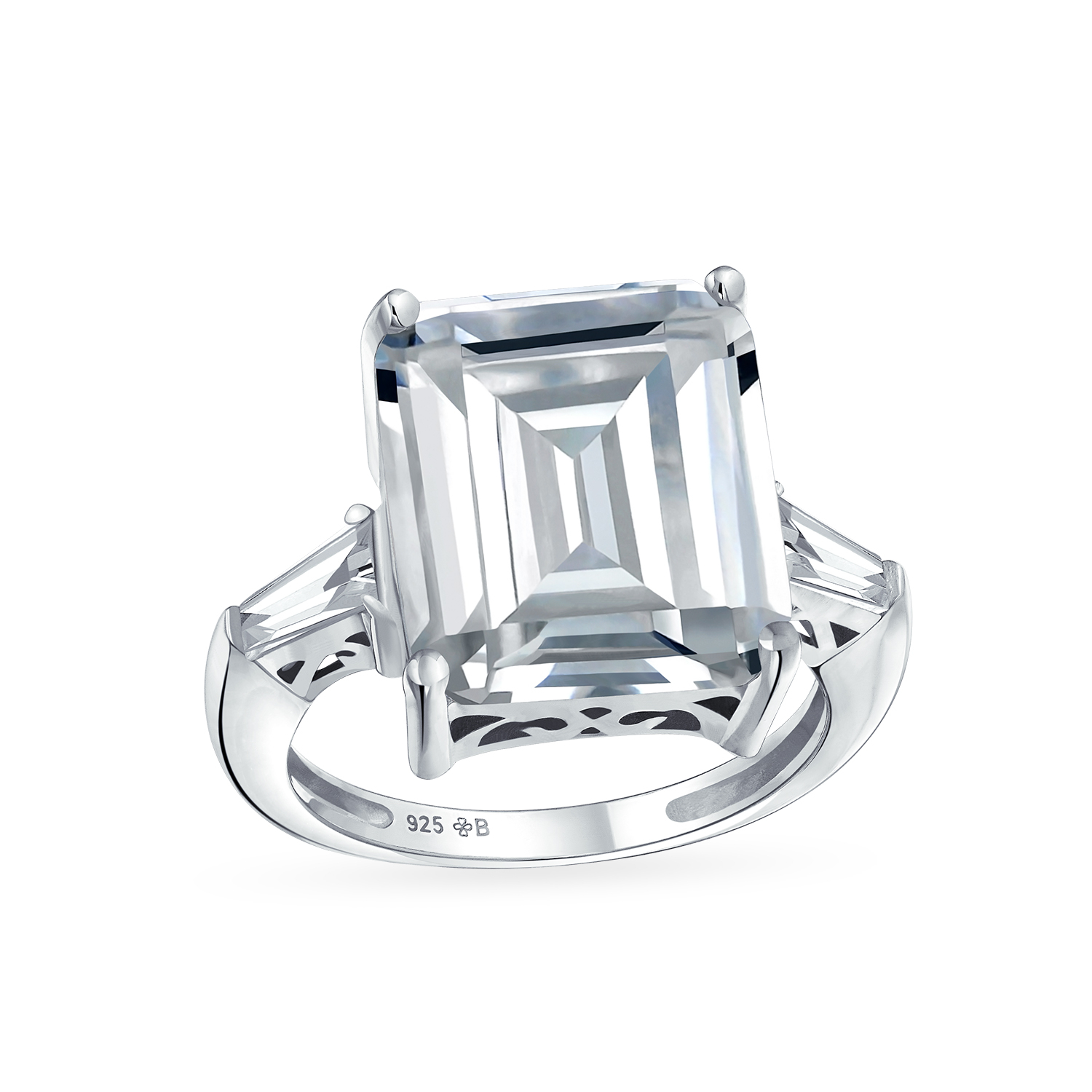 925 Sterling Silver CZ Ring with Accent Stones