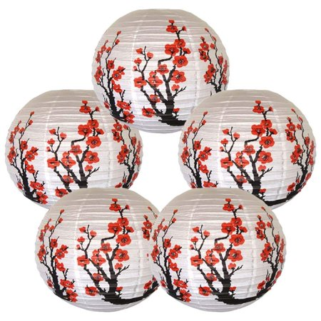 Red Sakura (Cherry) Flowers White Paper Lantern, 16in, 5ct (Paper Latern)