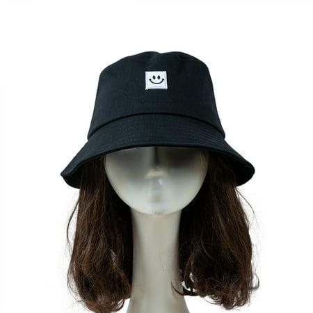 Women Hat Fisherman Hat Smiley Face Sunbonnet Bucket Hat Hip Casual Fedoras Outdoor Beach Cap - image 1 de 7