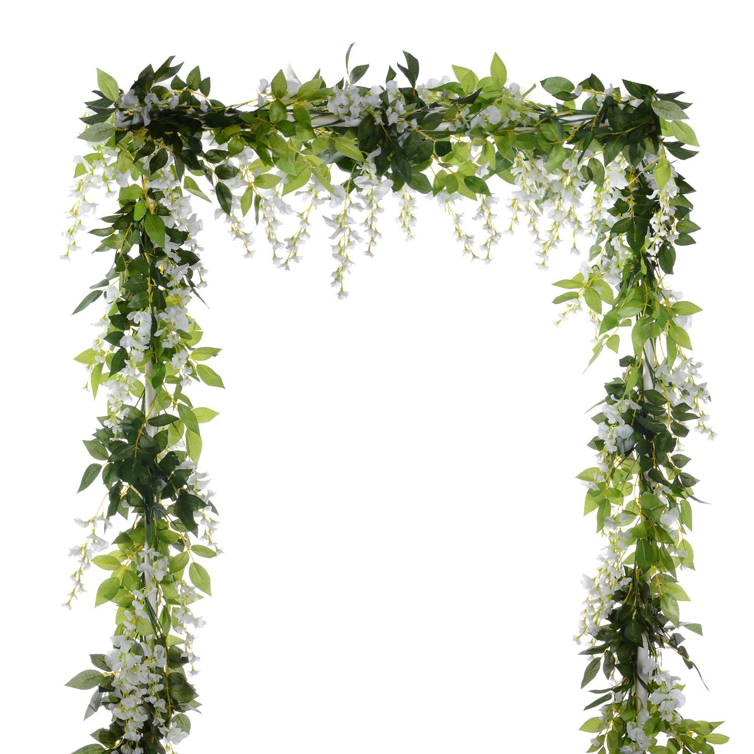 "70"" Artificial Silk Cherry Blossom Flower-2 Pack Hanging Vine Garland Each 105 Flower Spray Arrangements for wedding Wreath Home Garden Party Decor ,White"