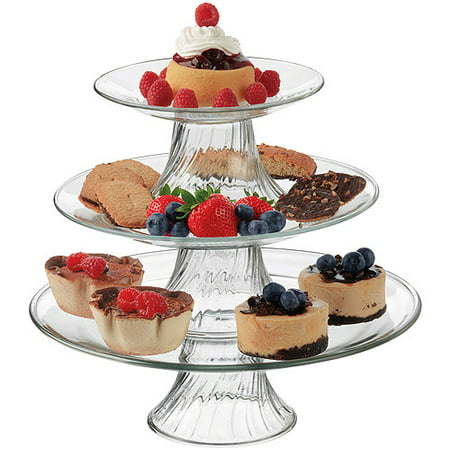 Libbey Stackable 3 Tier Pastalero Serving Platter Set