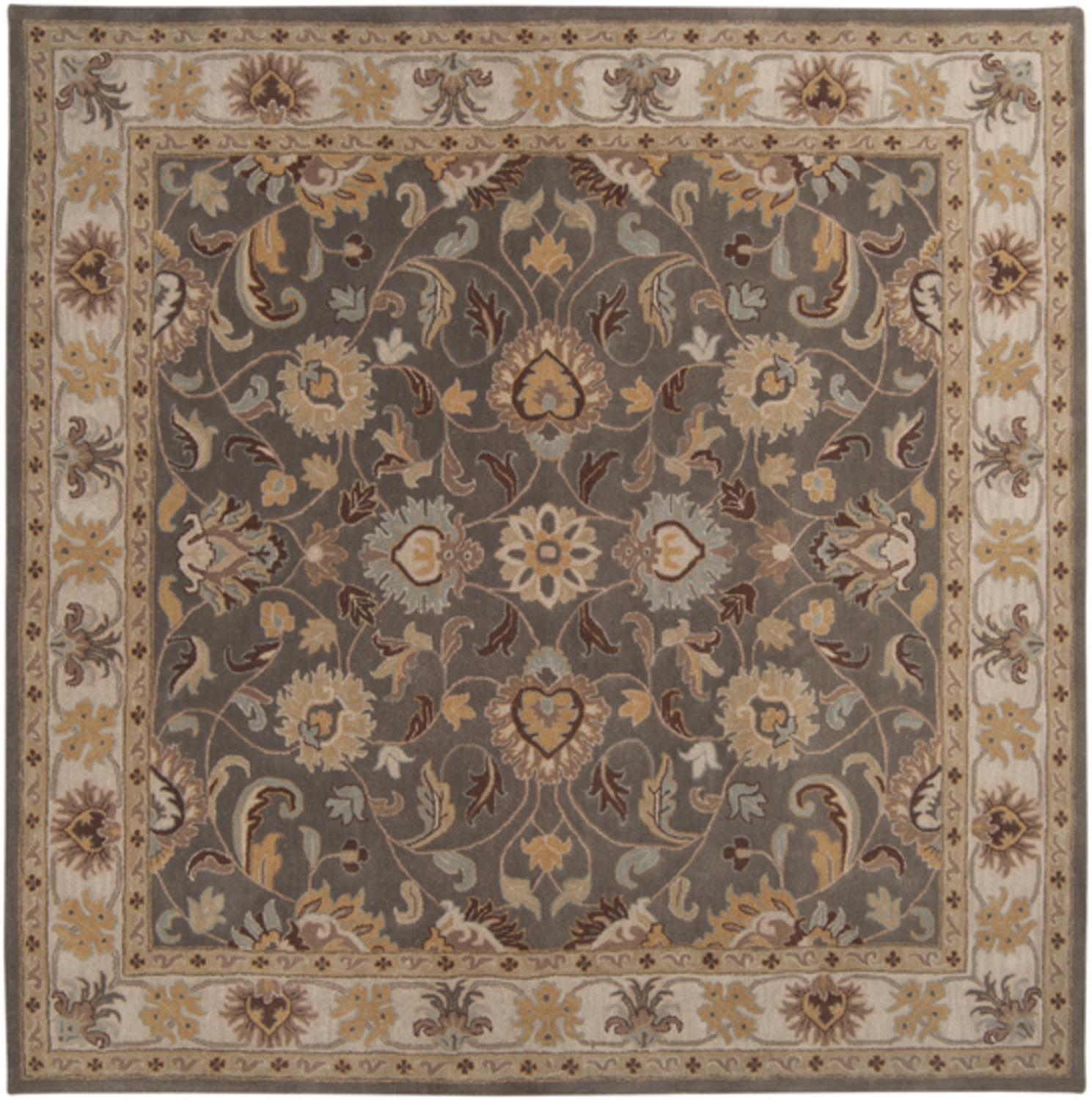 6' x 6' Augustus Heather Gray and Taupe Hand Tufted Wool Square Area Throw Rug