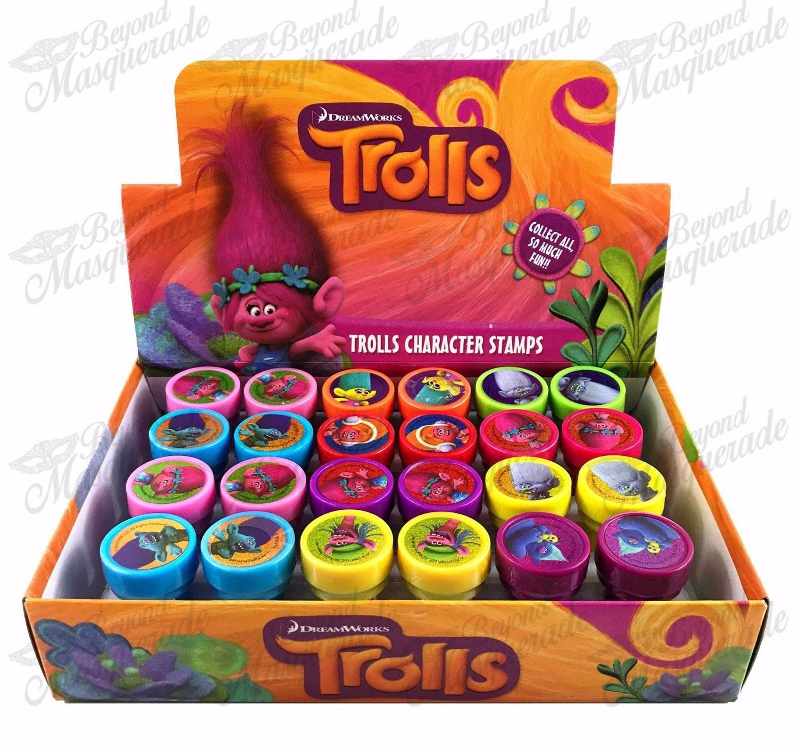(24ct) Dreamworks Trolls Stamps Stampers Self-inking Birthday Boy Party Favors