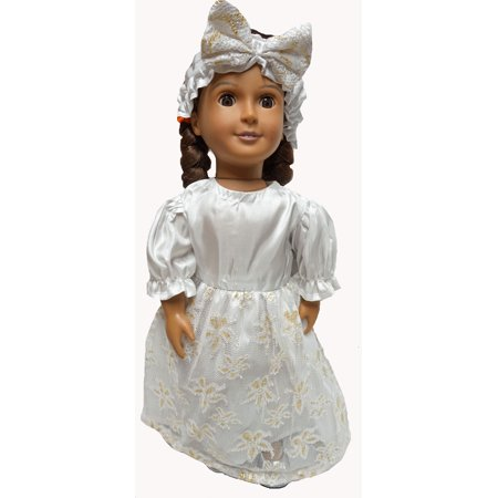 Wedding Dress With Lace Over Skirt & Gold Accent Fit 18 Inch Girl Doll