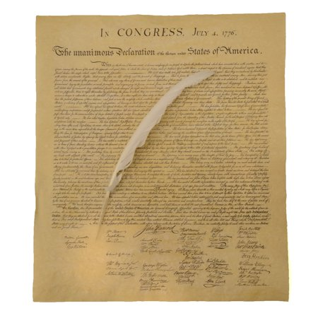 US Declaration of Independence Historical Document w/ Quill Writing Dip Ink Pen ()