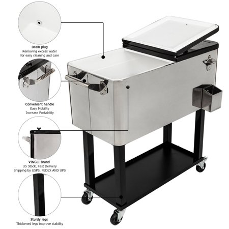 Zimtown Stainless Steel Cooler with Shelf
