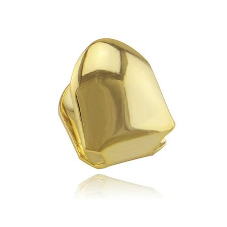 AkoaDa Plated Gold Silver Black Single Tooth Grill Clip Teeth Cap Hip Hop Fake Gold Tooth Teeth