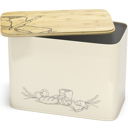 Space Saving Large Vertical Bread Box With Eco Bamboo Cutting Board