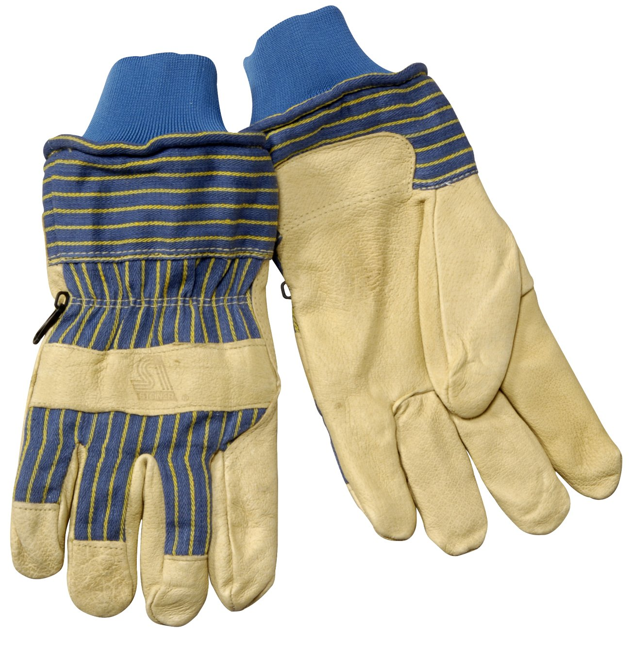 Insulated Thermal Work Gloves, Fully Lined, With Pigskin Outer Shell, Fabric Back, Knit Cuff