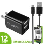 Cellet Universal Fast Charging Home and Travel Charger, Compact 12 Watt / 2.4 Amp with Dual USB Ports, Foldable Prongs, with 5ft. Micro USB Cable