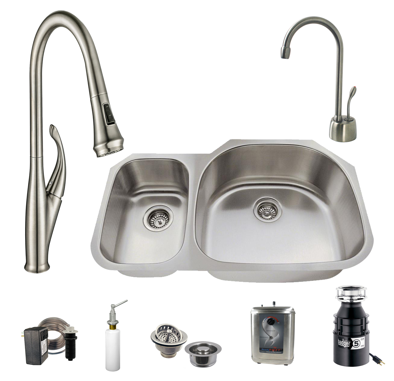 All In One 31 5 32 In Undermount Stainless Steel 30 70 Double