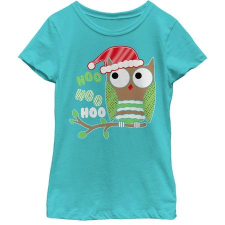 Girls' Christmas Owl Hoo T-Shirt (Big Hobo)