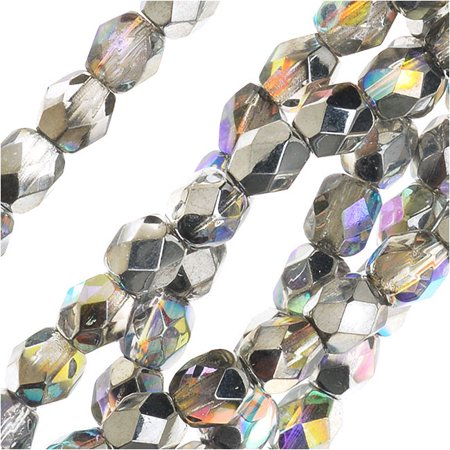 Czech Fire Polished Glass, Faceted Round Beads 4mm, 40 Pieces, Crystal Silver