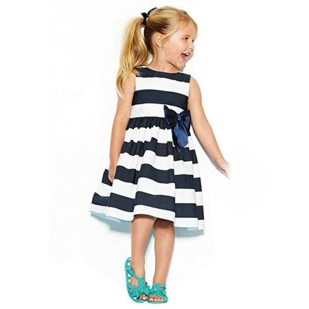 Lavaport Toddler Kids Baby Girl Cute Striped Dress Sleeveless Dowknot (Decor Sleeveless)