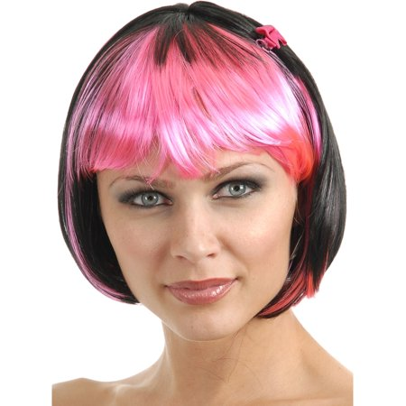 Women's 2-Tone Black and Fuchsia Costume Bob Wig With Bangs - Bang On Nyc Halloween Party