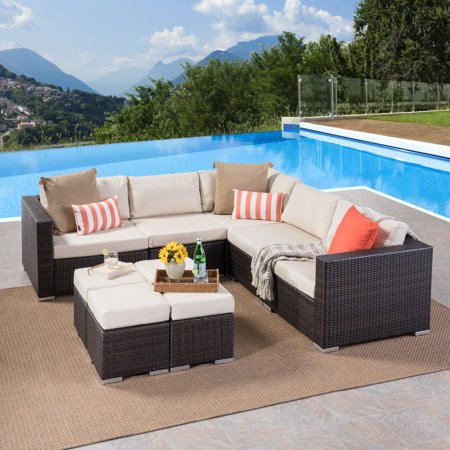 Fine Faviola Outdoor 9 Piece Wicker Sectional Sofa Set With Aluminum Frame And Cushions Multibrown Beige Short Links Chair Design For Home Short Linksinfo