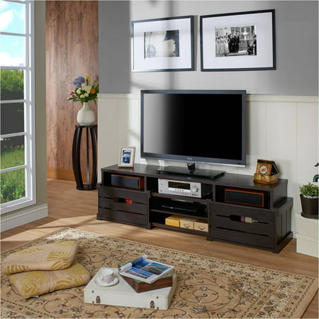 Furniture of America Akbar Transitional Rustic Inspired TV Stand for up to 72″, Multiple Colors