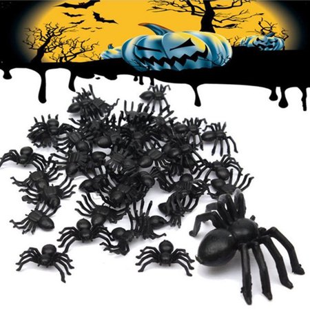 WALFRONT 50pcs 2cm Small Black Plastic Fake Spider Toys Funny Joke Prank Realistic Props,Small Black Plastic Spider - Realistic Fake Hand