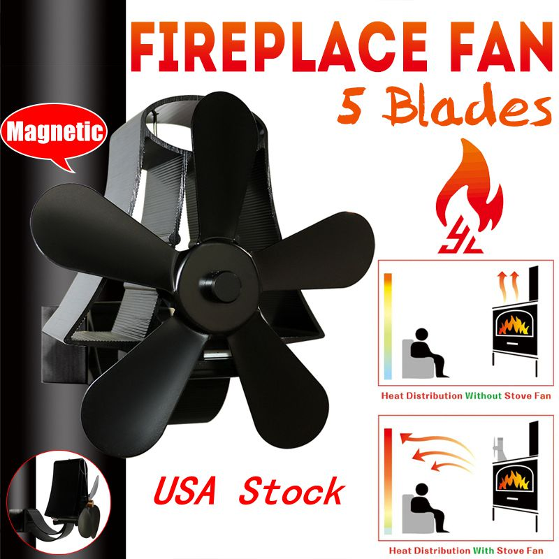 5 Blades Self-Powered Heat Wood Heater Stove Fireplace Fan Top Log Burner Silent Ecofan Fuel Saving Heat Low Maintenance
