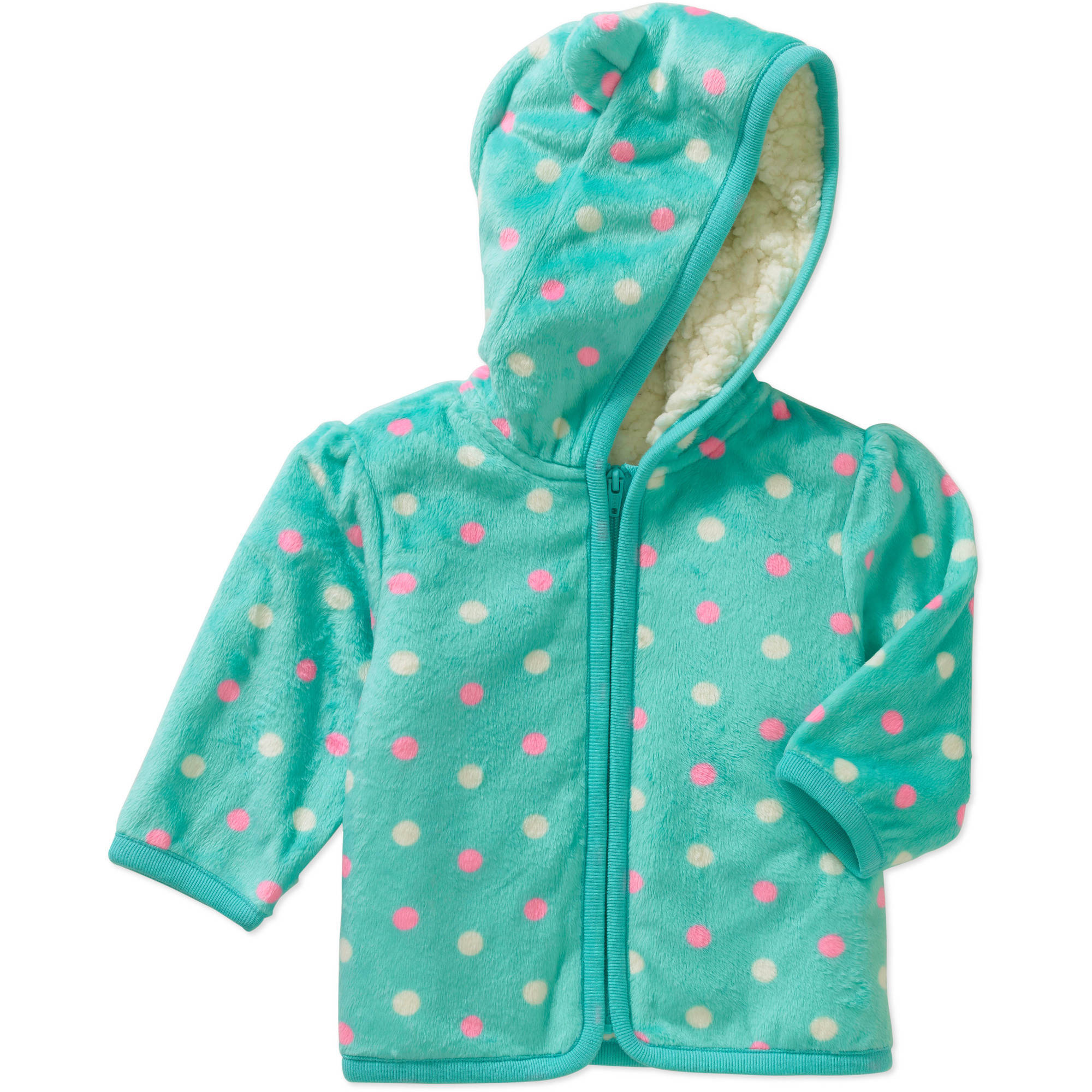 Healthtex Newborn Baby Girl Eared Cozy Fleece and Sherpa Hoodie