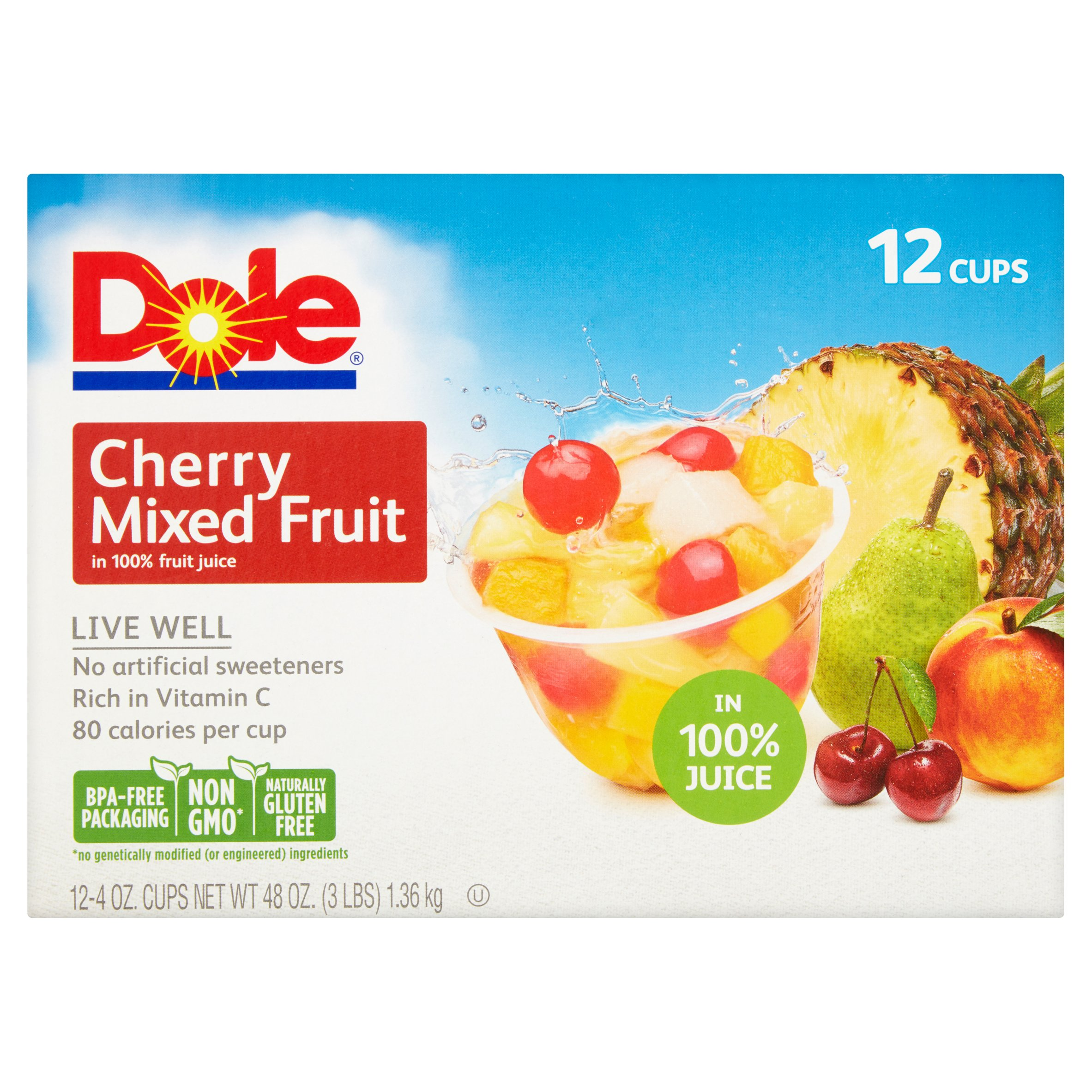 Dole Cherry Mixed Fruit in 100% Fruit Juice 12-4 oz. Cups by ©Dole Packaged Foods, LLC