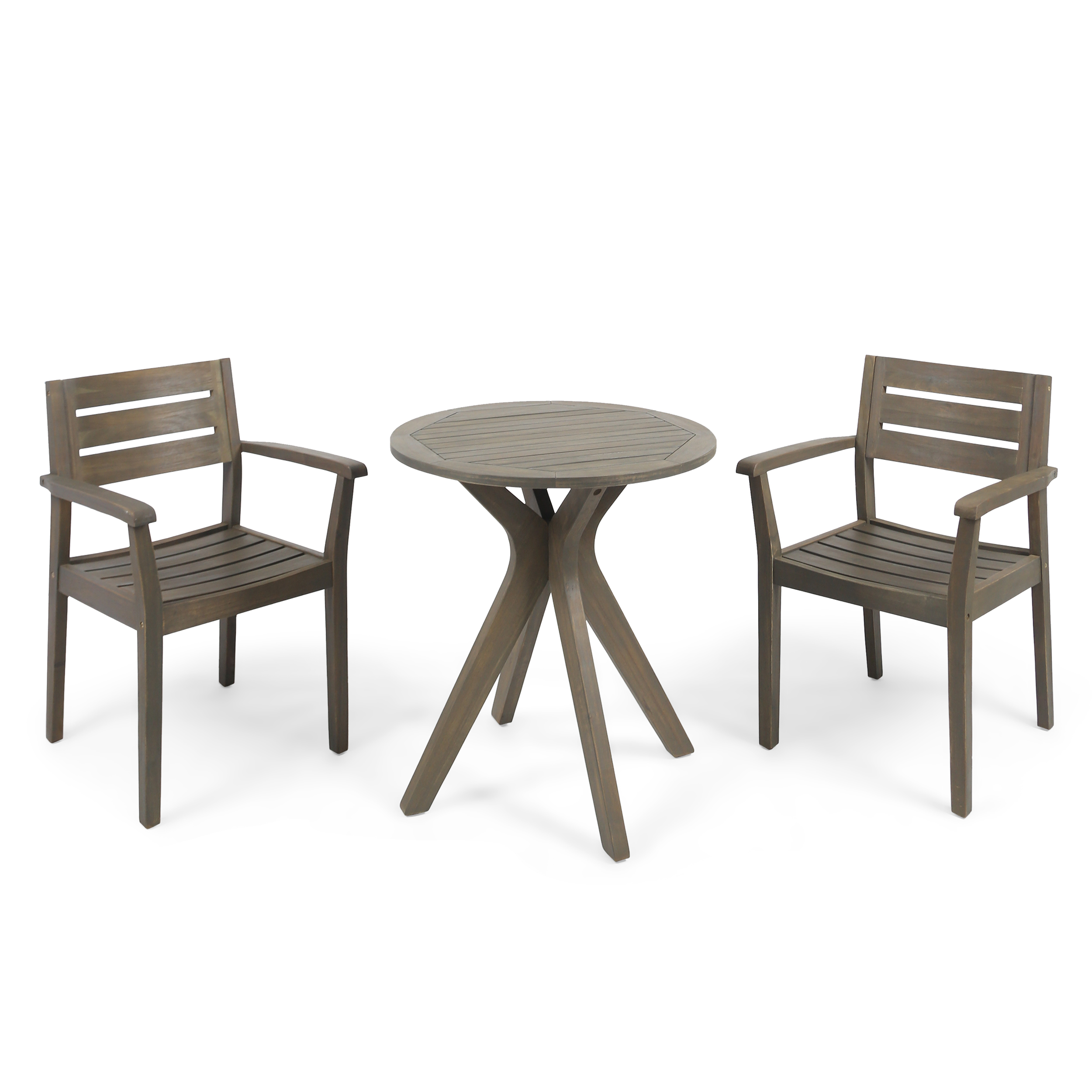 Zack Outdoor 3 Piece Acacia Wood Bistro Set with Cross Legged Bistro Table, Gray Finish