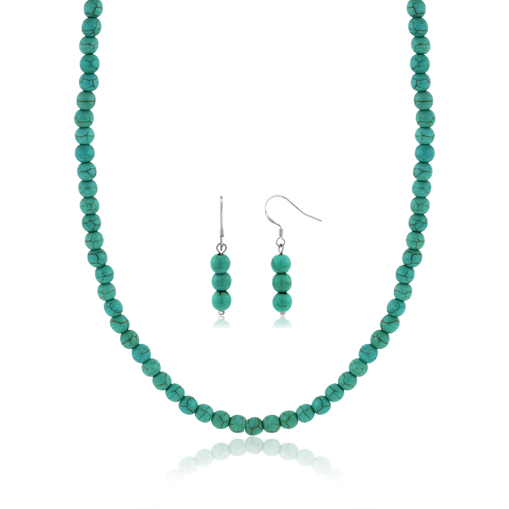"""6mm Round Beads Green Simulated Turquoise Howlite 20"""" Necklace and Earrings Set"""