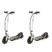 Razor Power Core E100 Electric Hub Kids Motorized Kick Scooter, Purple (2 Pack)