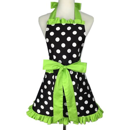 Aspire Kitchen Apron For Women Retro Polka Dots Cooking Aprons Cafe Working Aprons-Black Green-M ()