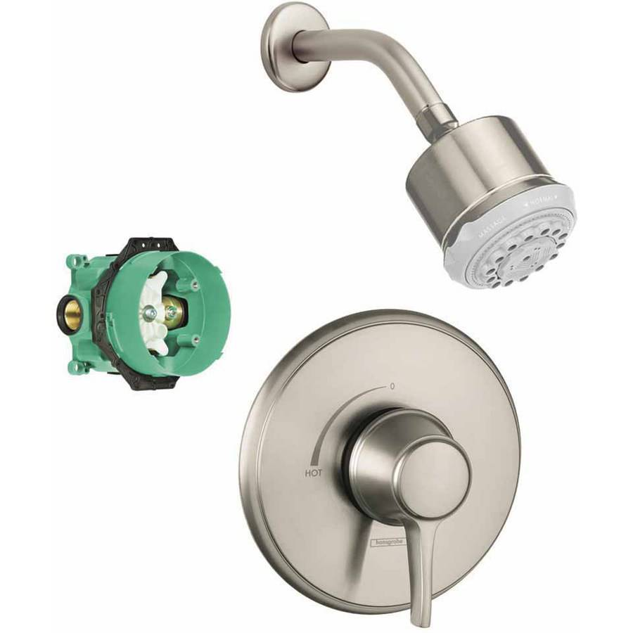 Hansgrohe KS15404-28496PN Clubmaster Showerhead Kit with PBV Trim and Rough-In, Various Colors